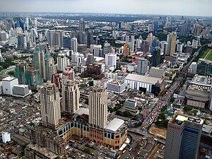 Vista aérea de Bangkok, septiembre de 2008.