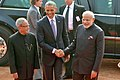 Barack Obama being welcomed by the President, Shri Pranab Mukherjee and the Prime Minister, Shri Narendra Modi on his arrival at Ceremonial Reception, at forecourt of Rashtrapati Bhavan, in New Delhi on January 25, 2015 (1).jpg