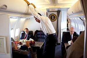 Boeing C-32 - President Obama and staffers aboard a C-32A as Air Force One in 2009 showing the second and third section.