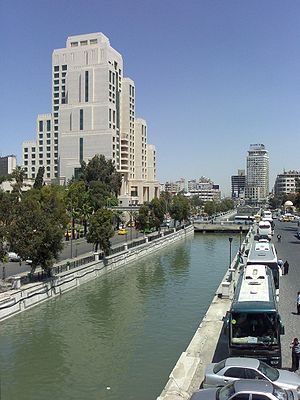 Water resources management in Syria - The Barada river, shown here in Damascus in 2009, is the only notable river flowing entirely within Syrian territory