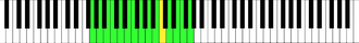 Baritone - Baritone vocal range (G2–G4) notated on the bass staff (left) and on the piano keyboard in green with middle C (C4) shown in yellow