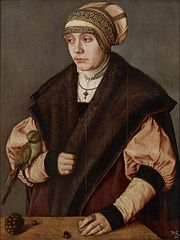 Portrait of a woman with parrot