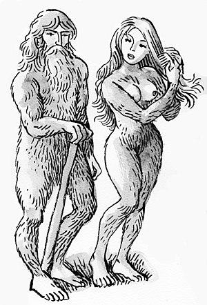 Basajaun - Artist's depiction of a basajaun and its female companion, a basandere.
