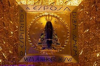 The Basilica of the National Shrine of Our Lady of Aparecida - Original image of Our Lady of Aparecida in its permanent exhibit inside the Basilica.
