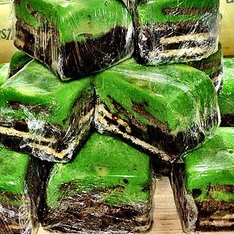 Batik cake - Other variety of Batik cake from Brunei with green topping