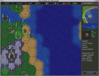 Strategy video game - The Battle for Wesnoth is a turn-based strategy game.
