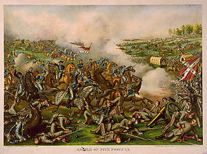 Battle of Five Forks - Sheridan's charge at Five Forks (lithograph published c.1886)