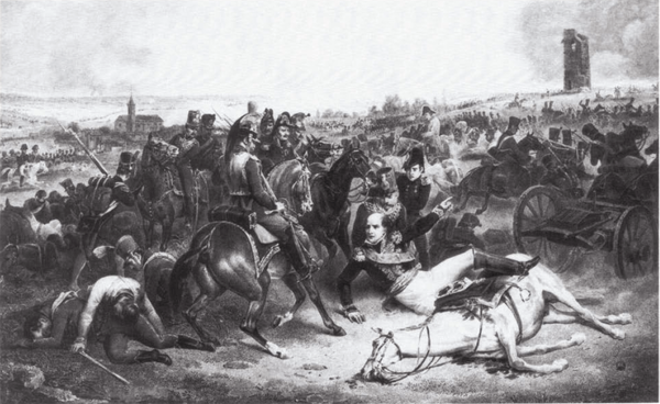 Davout ordering the assault of Markgrafneusiedl. The commander of III Corps had his horse shot under him while leading his men from the front but continued his relentless attacks on the Austrian left. Battle of Wagram - Davout orders the assault of Markgrafneusiedl.png