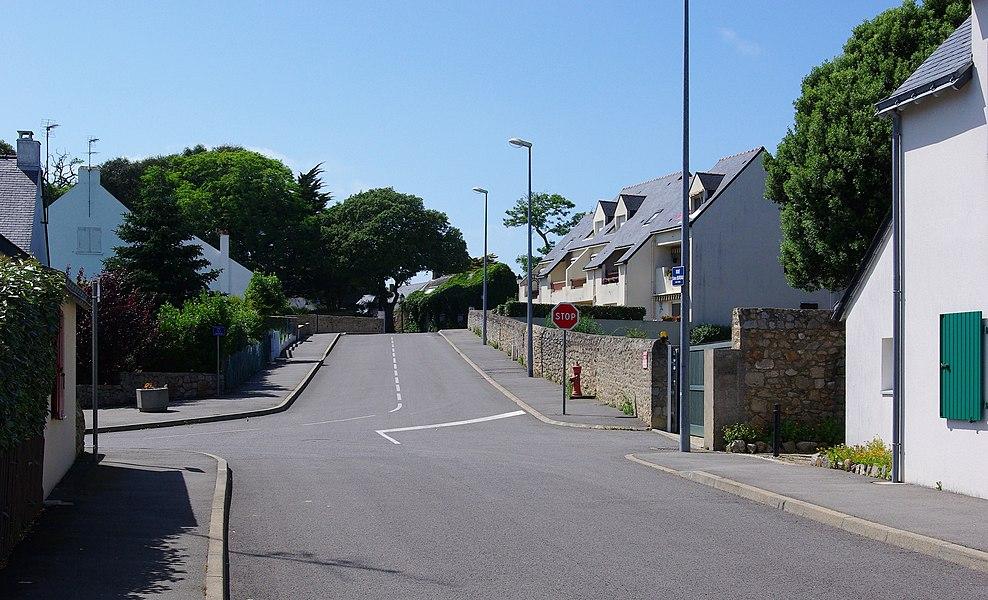 Empty crossroad in Batz-sur-Mer, Loire-Atlantique, France.