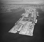 Bayonne Naval Supply Depot with USS Enterprise (CV-6) in July 1953.jpg