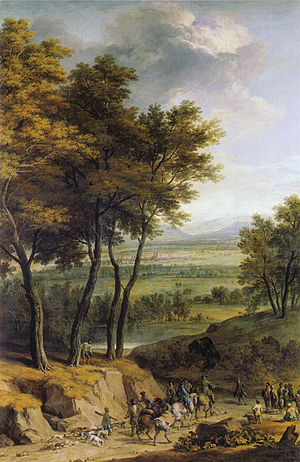 Franz Joachim Beich - Landscape with view towards Munich, with a hunting party returning home, now in the Bavarian state painting collections.