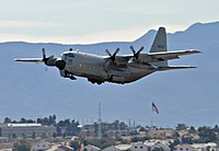 Belgian C-130H taking off from Nellis AFB 2011.jpg