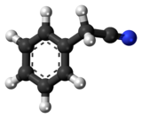 Ball-and-stick model of the benzyl cyanide molecule