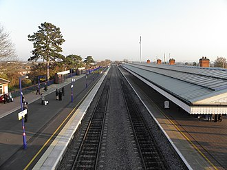 Bicester North railway station - The station in 2011, after completion of widening work on the southbound platform