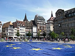 Big european flag at Strasbourg (France) - Europe Day 2009.jpg