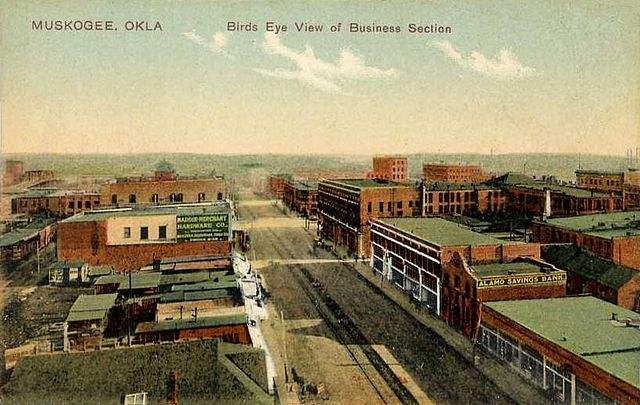 File Bird S Eye View Of Business Section Muskogee Ok Jpg