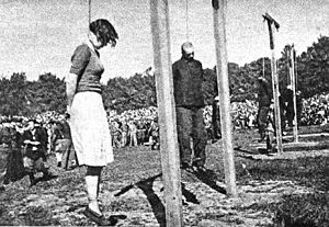 Stutthof trials - Image: Biskupia Gorka executions 13 Steinhoff, Pauls, 3 Kapos (left to right)