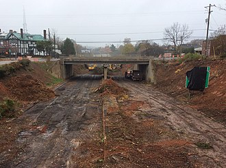 Interstate 40 Business (North Carolina) - On the first day of close, work began on the Broad Street bridge