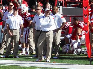 Bo Pelini - Bo Pelini with arms crossed (Nebraska vs. Rutgers, 2014).