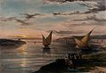 Boats on the Nile at sunset, Egypt. Coloured lithograph by L Wellcome V0049334.jpg