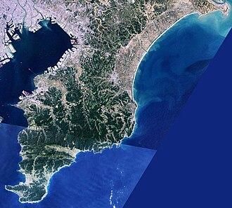 Bōsō Peninsula - Image: Boso Peninsula Chiba Japan SRTM