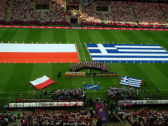Both teams on the pitch POL-GRE 8-6-2012.jpg