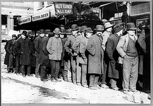 Bowery men waiting for bread in bread line, Ne...