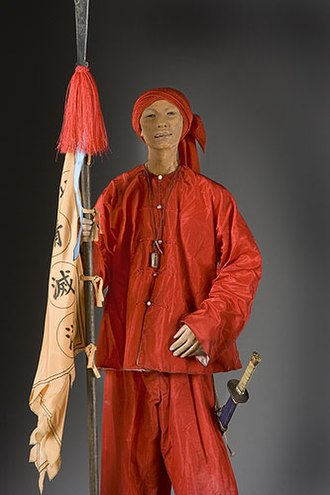 Boxer Rebellion - Model made out of wax of a Boxer, armed with a spear and sword. Model by George S. Stuart