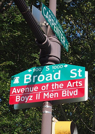 "Boyz II Men - Broad Street in Philadelphia, from Christian to Carpenter Streets, was renamed, ""Boyz II Men Boulevard."""