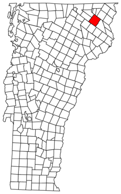 Island Pond is in Brighton (red), Essex County, Vermont