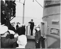 British King George VI pays a visit to President Harry S. Truman aboard the U. S. S. Augusta, in waters off Plymouth... - NARA - 198717.tif