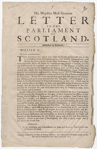 George Melville, 1st Earl of Melville - Broadside announcing appointment of George Melville, 1st Earl of Melville as commissioner to Parliament of Scotland, 1690