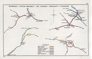 Patricroft railway station - A 1905 Railway Clearing House Junction diagram showing (upper right) railways in the vicinity of Patricroft