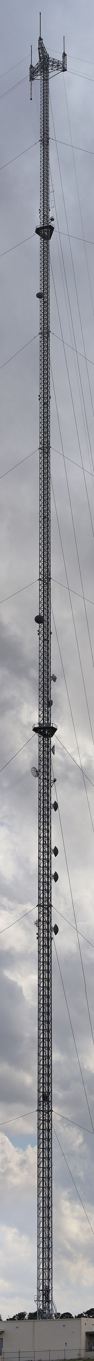 Guyed mast - A guyed FM and TV radio mast in Christmas, Fl. It is 1695 feet or 516 meters tall.
