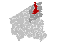 Location of Bruges in West Flanders
