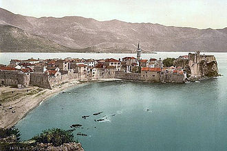 Budva - The Venetian walls of Budua (Budva) on a 1900 postcard