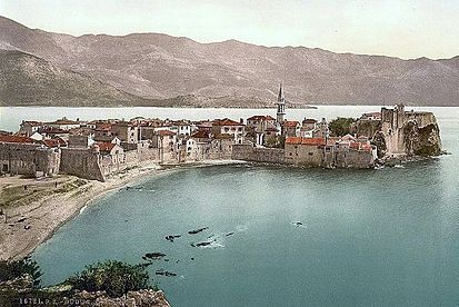 The Venetian walls of Budua (Budva) on a 1900 postcard Budua (1900).jpg