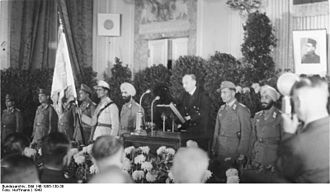Azad Hind - National celebration at the founding of the Provisional National Indian government at the Free India Center, Berlin, with Secretary of State Wilhelm Keppler speaking, on 16 November 1943