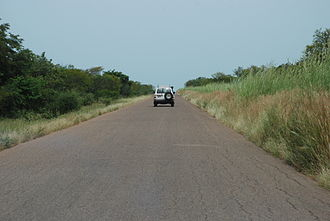 Pama Reserve - Western border of the Pama reserve. Note the tall grasses on the protected side of the road.