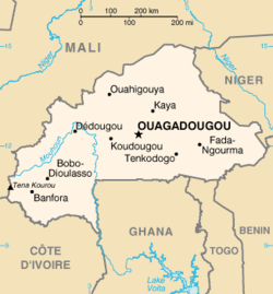 Map of Burkina Faso; Ouagadougou is represented by the star.