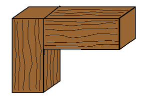 Butt joint technique in which two pieces of wood are joined