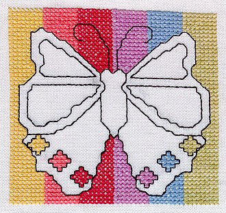 Assisi embroidery - Image: Butterfly in modern Assisi work