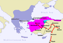 Map of the journey of the First Crusade