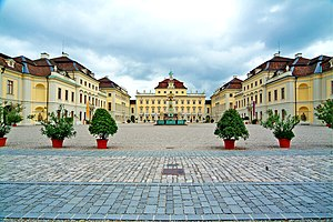 Ludwigsburg Palace - Courtyard, looking north at the old corps de logis, or Old Hauptbau.