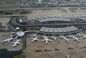 Charles de Gaulle Airport - Aerial view of Terminal 2A and 2B