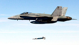 Military - CF-18 Hornet drops a laser-guided bomb