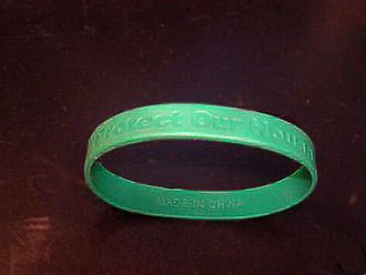 "Loyalty oath - Countrywide Financial Corporation's loyalty bracelet bearing the slogan ""Protect Our House"". In 2007, employees were issued the wristbands upon signing a loyalty oath. According to a senior CFC officer, the consequence of not getting such a wristband was ""I will lose my job."""