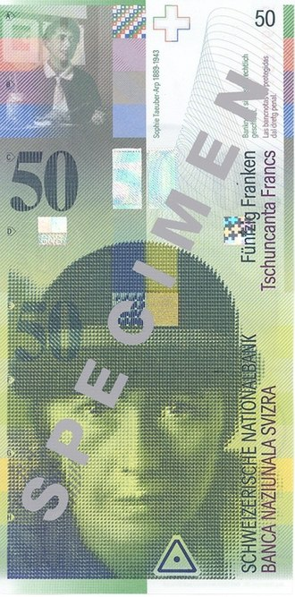 Sophie Taeuber-Arp - Taeuber-Arp on the 50 Swiss Francs note