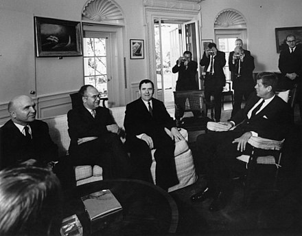 President Kennedy meets with Soviet Foreign Minister Andrei Gromyko in the Oval Office (October 18, 1962) CMC Gromyko.jpg