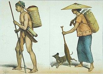 Meratus Dayak - Image: COLLECTIE TROPENMUSEUM Kleurenlithos getiteld Orang Boekit uit de Afdeeling Amoentai en Dajaksche vrouw uit Longwai van haar werk huiswaarts keerend T Mnr 5795 30